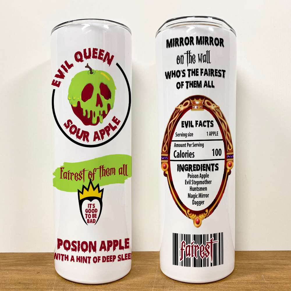 Personalized Halloween Evil Queen Sour Apple Posion Apple Skinny Tumbler