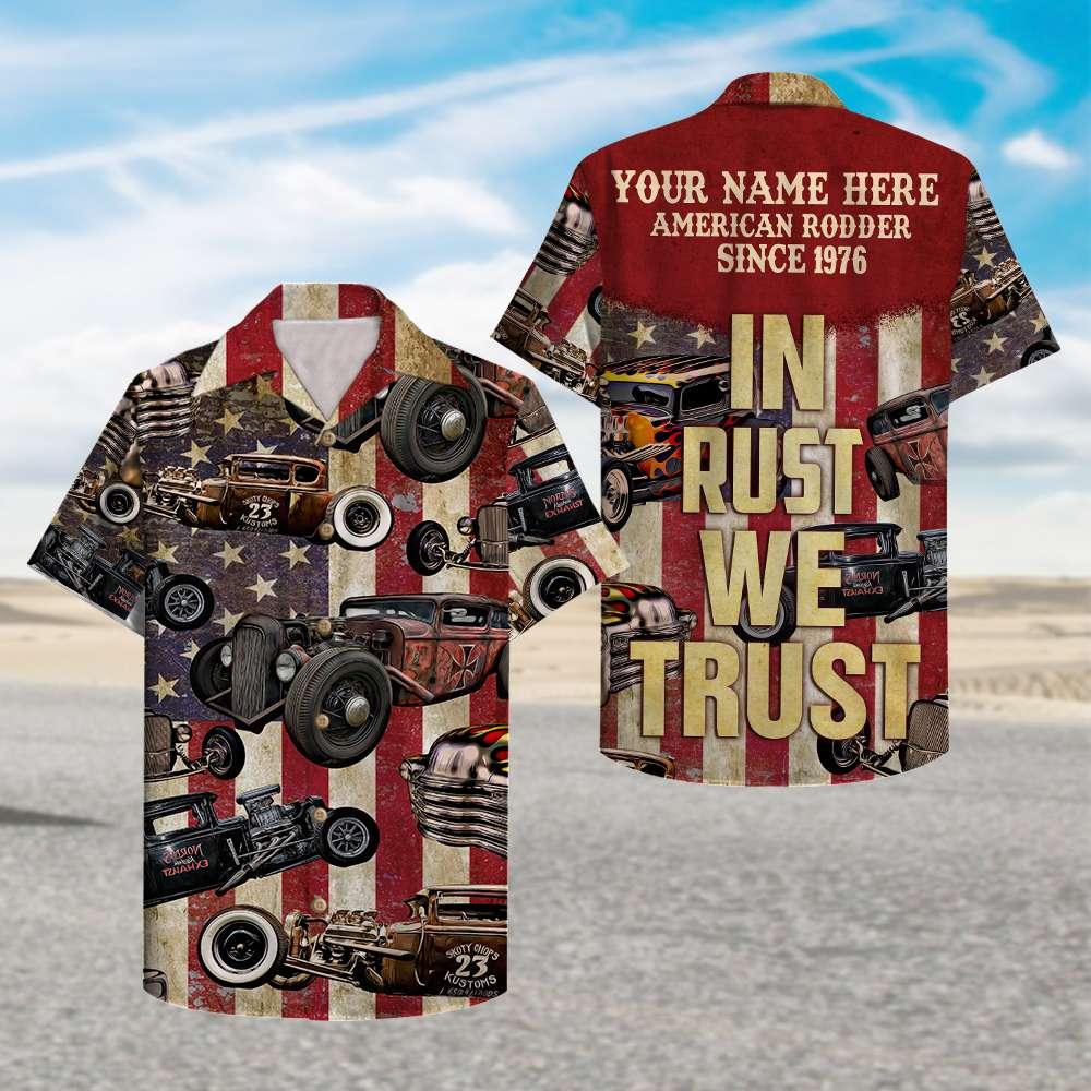 Custom Name Hot Rod In rust we trust Hawaiian Shirt