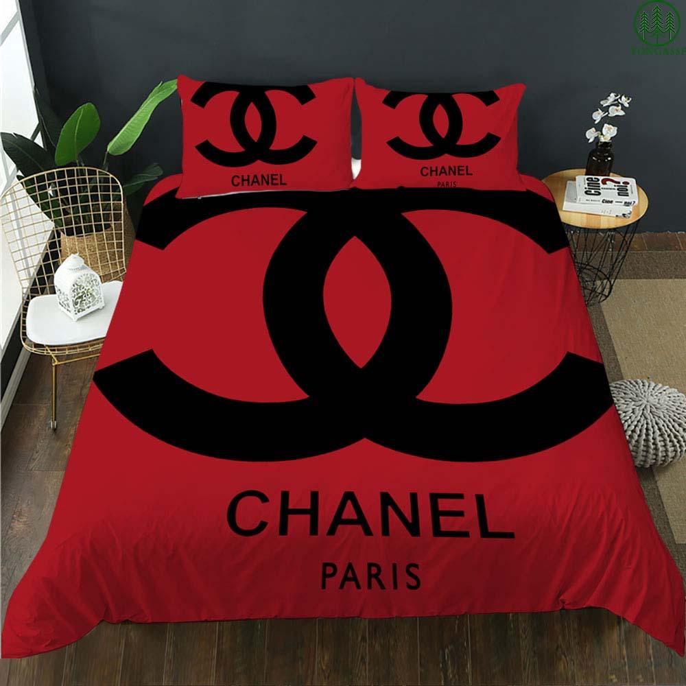 Chanel Paris big logo red bedding set