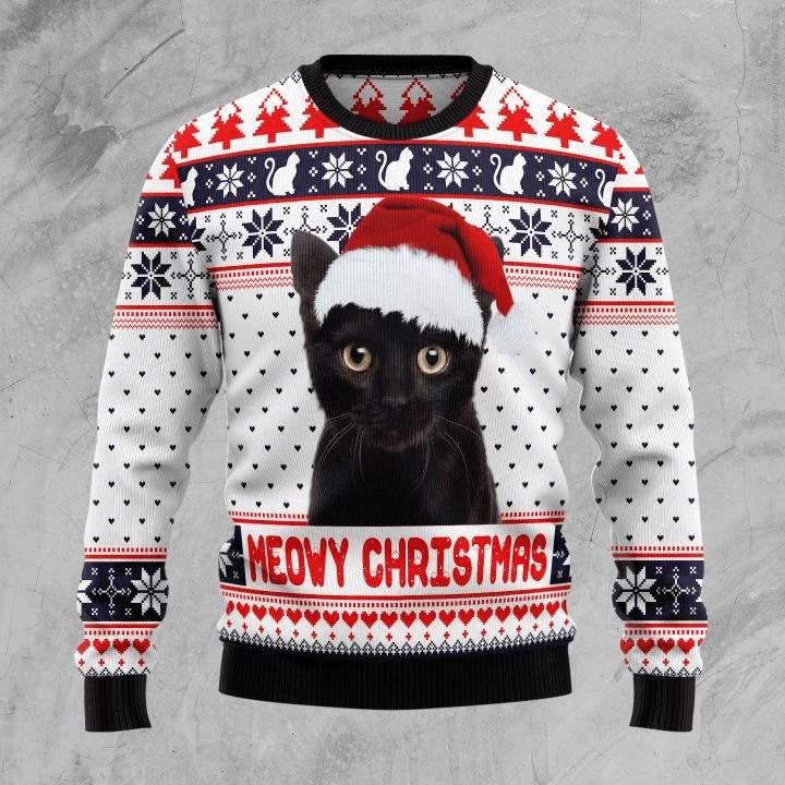 Meowy Black Cat Christmas White Sweater