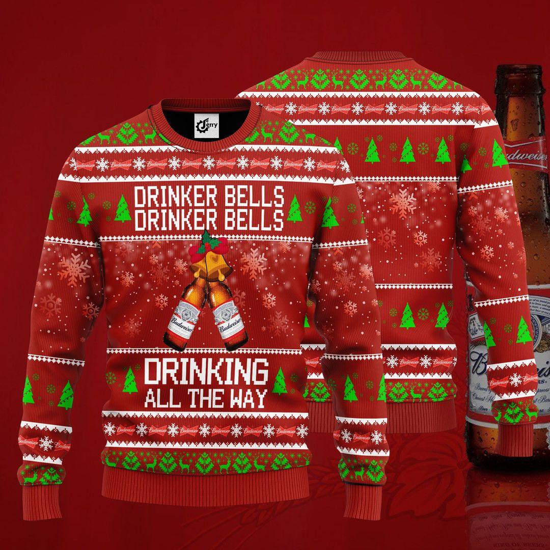 Budweiser Drinker Bells Drinker Bells Drinking All The Way Christmas Sweater