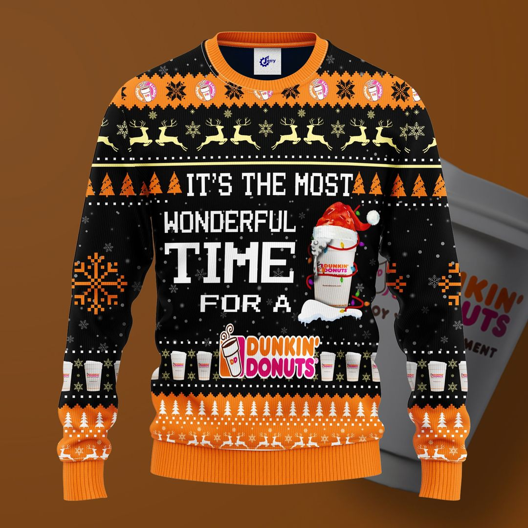 Most Wonderful Time For A Dunkin Donuts Christmas Sweater