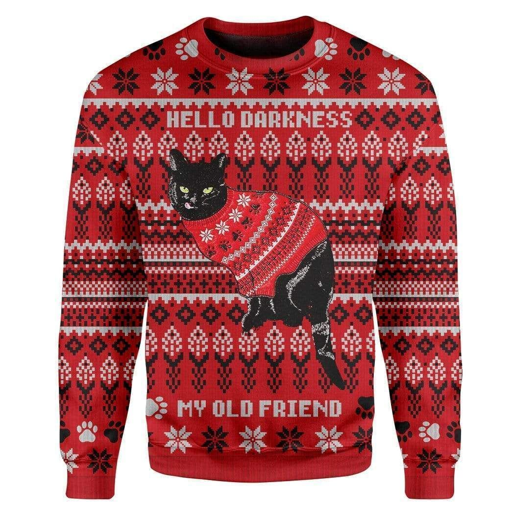 Black Cat wear red sweater Christmas Sweater