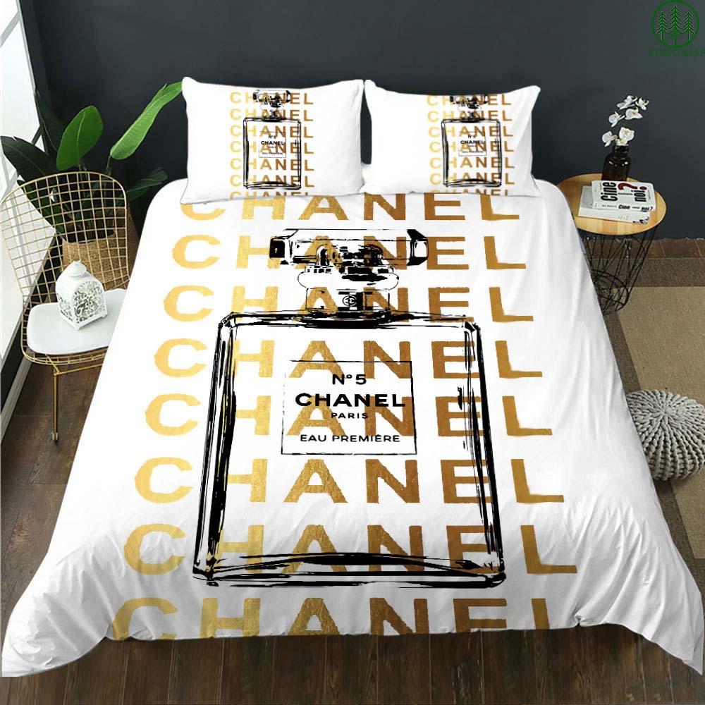 Chanel paris luxury perfume bedding set