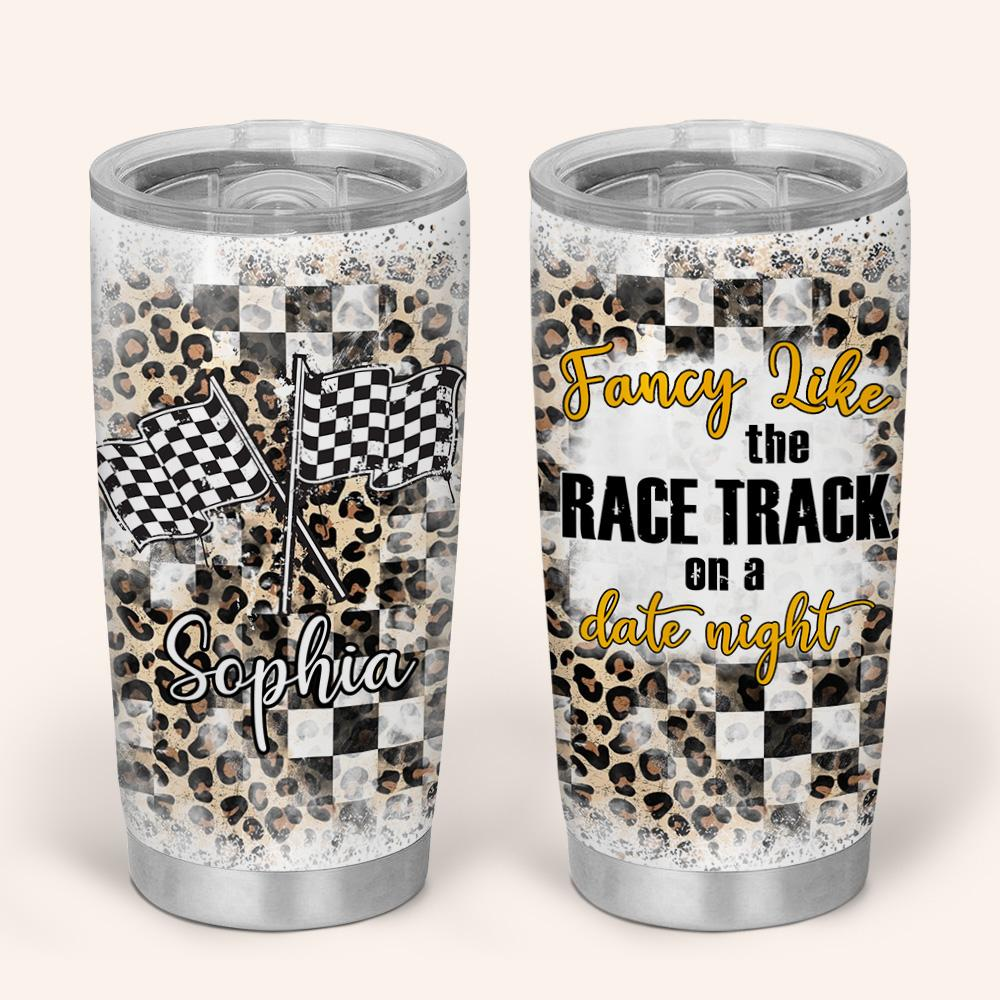 Personalized Halloween Racing Girl Fancy like the race track on a date night Tumbler Cup