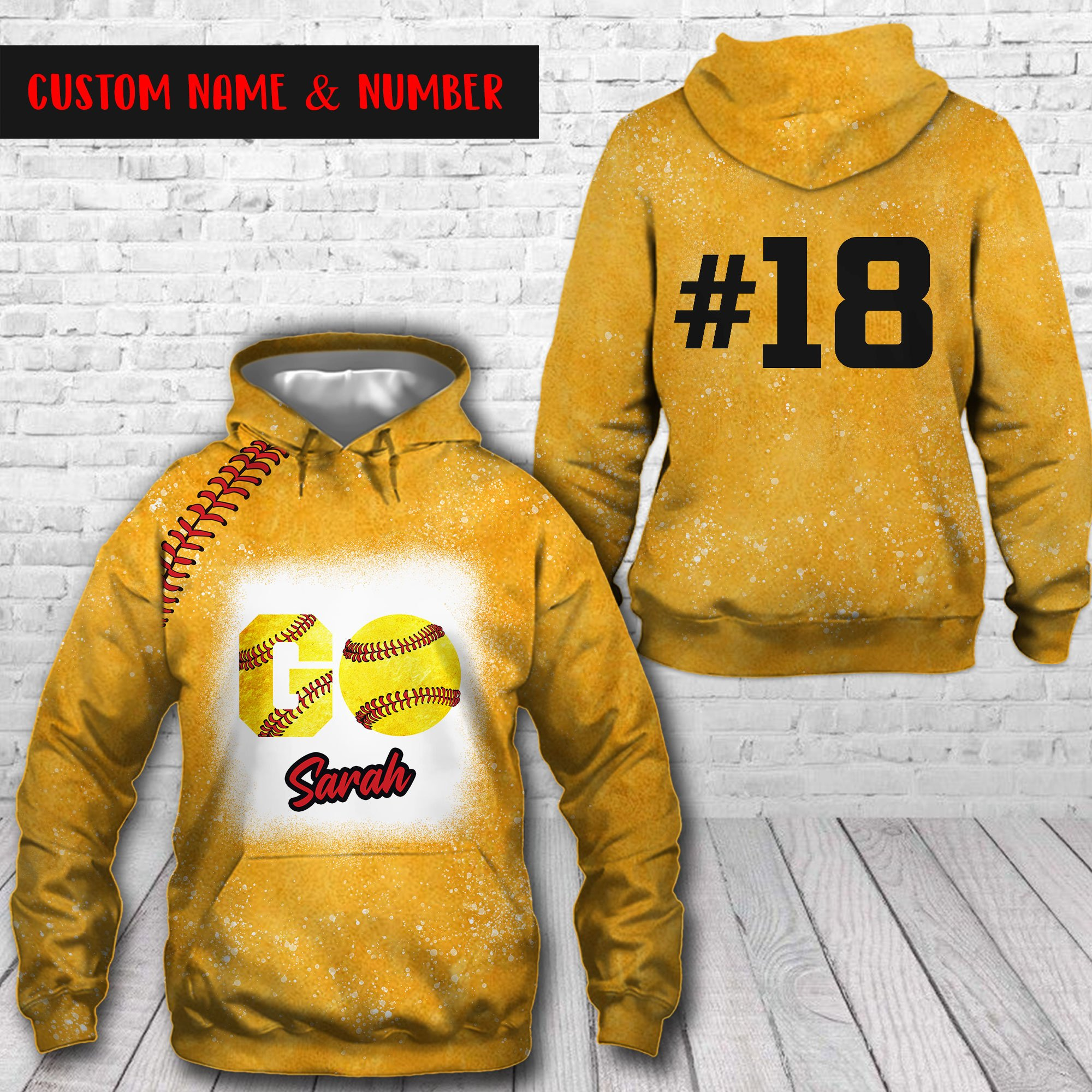 Baseball Go Solfball Custom Name and Number Yellow Bleached Hoodie 3D