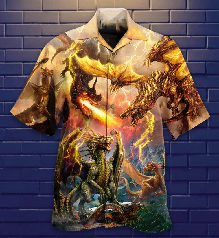 Dragon Battle Fire Hawaiian Shirt
