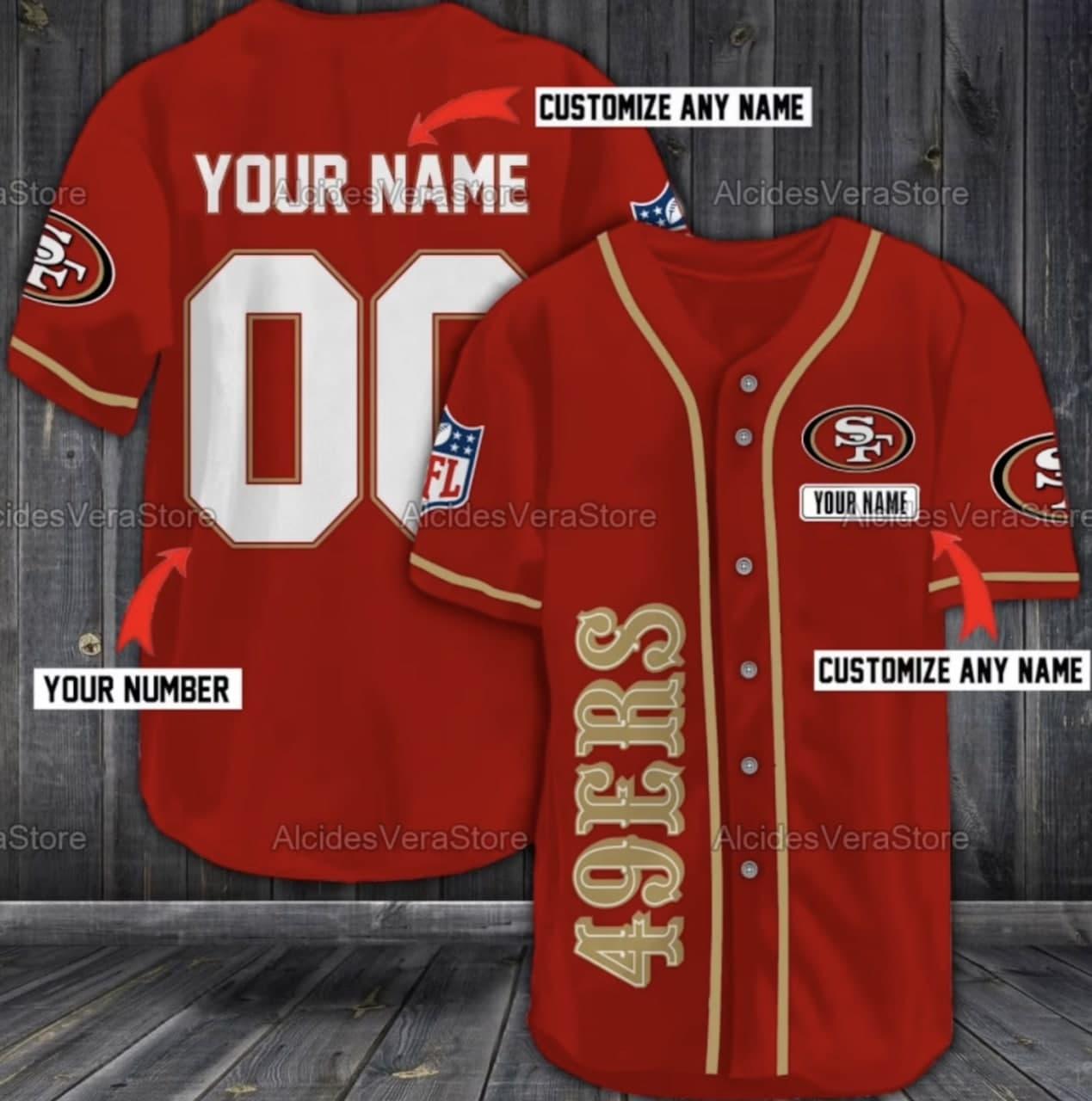 Custom Name San Francisco 49ers Red Baseball Jersey shirt