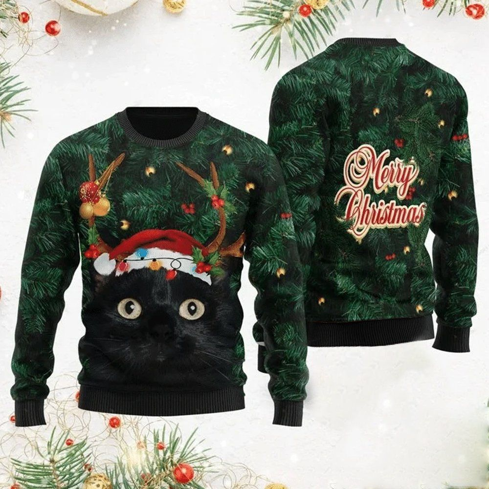 Merry Christmas Black Cat in pine tree Christmas Sweater