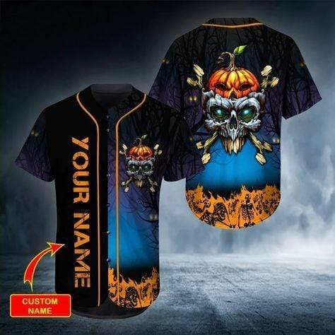 Halloween Head Skull Pumpkin Custom Name Baseball Jersey