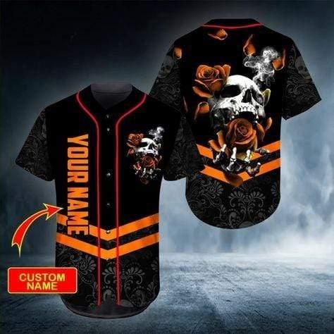 Skull Rose Orange Custom Name Baseball Jersey