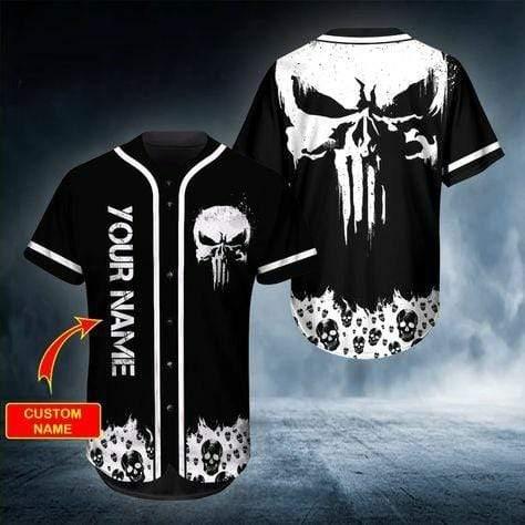 Ghost Head Skull Custom Name Baseball Jersey