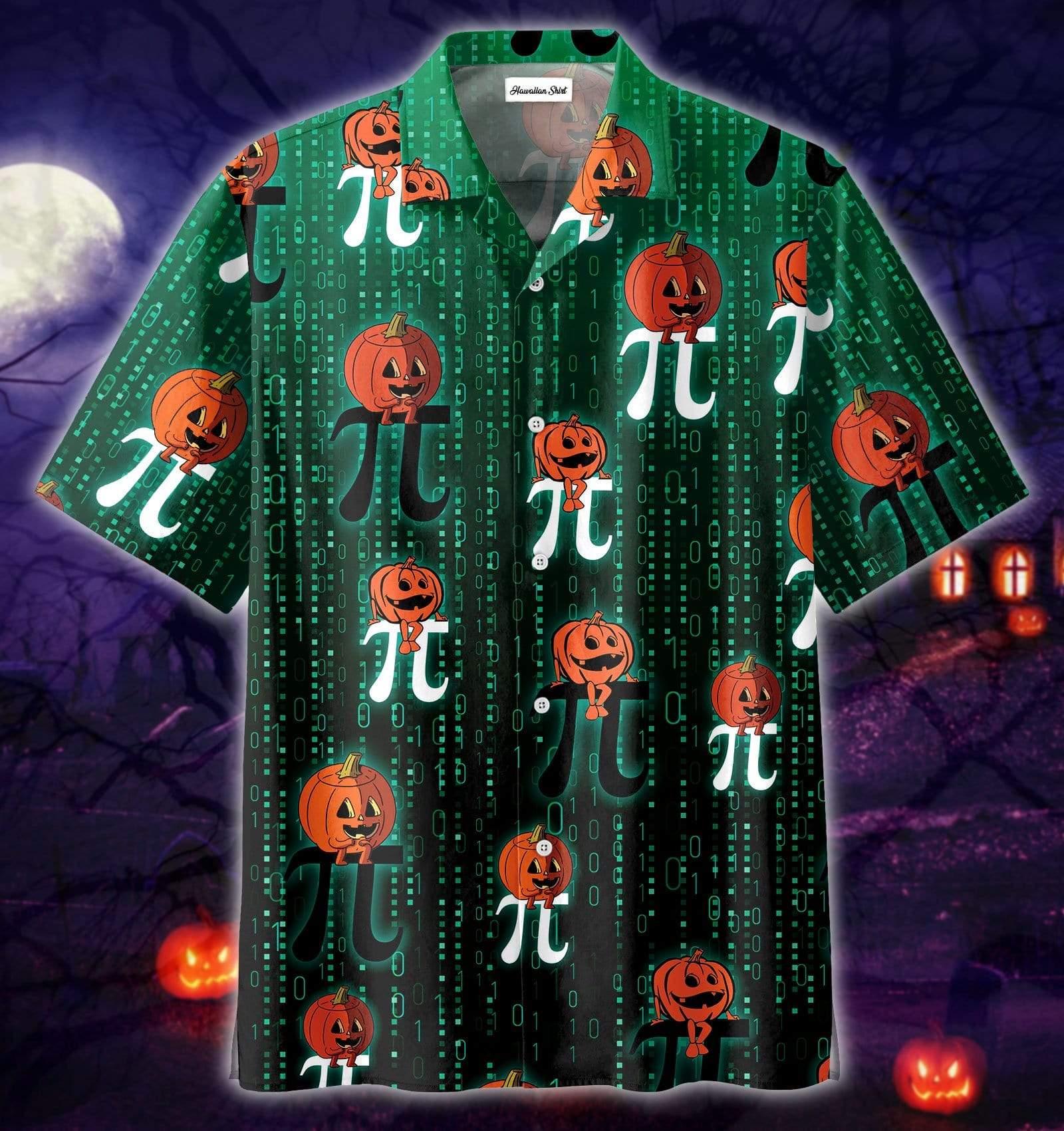 Pi Math Lover Halloween Pumpkin Smiles Hawaiian Shirts