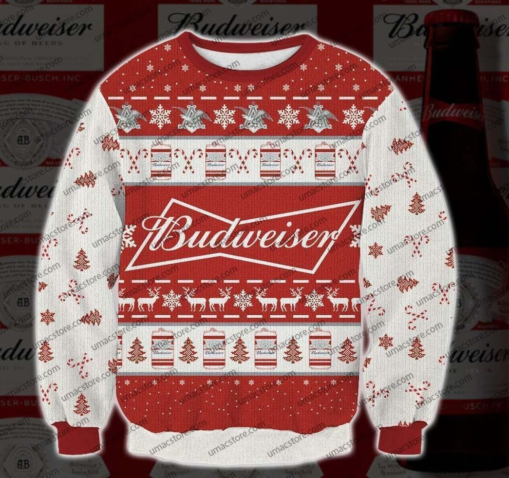 Budweiser 3D Print Christmas Sweater