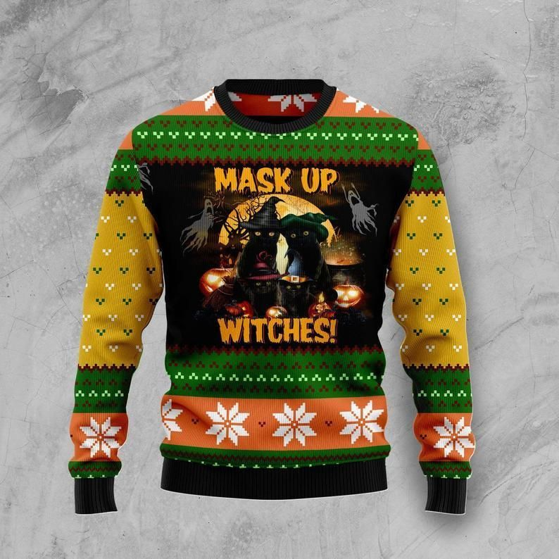 Black Cat Mask up Witches Ugly Christmas Sweater
