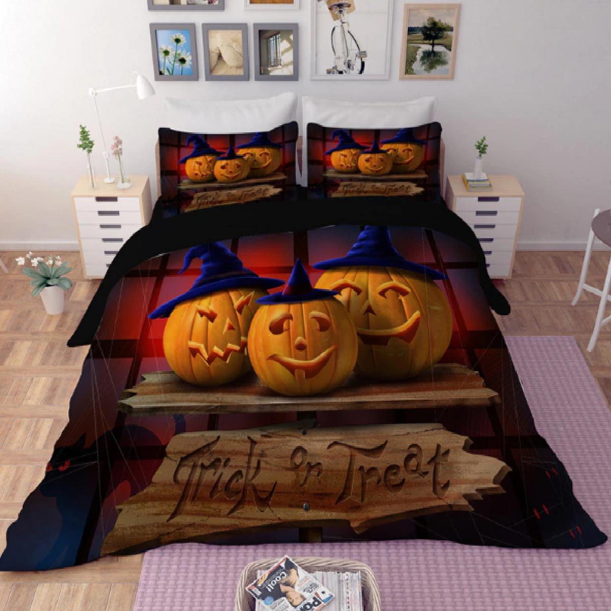Trick or Treat Halloween Pumpkin Duvet Bedding Set