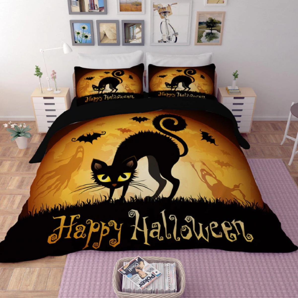 Happy Halloween scary Cat Duvet Bedding Set