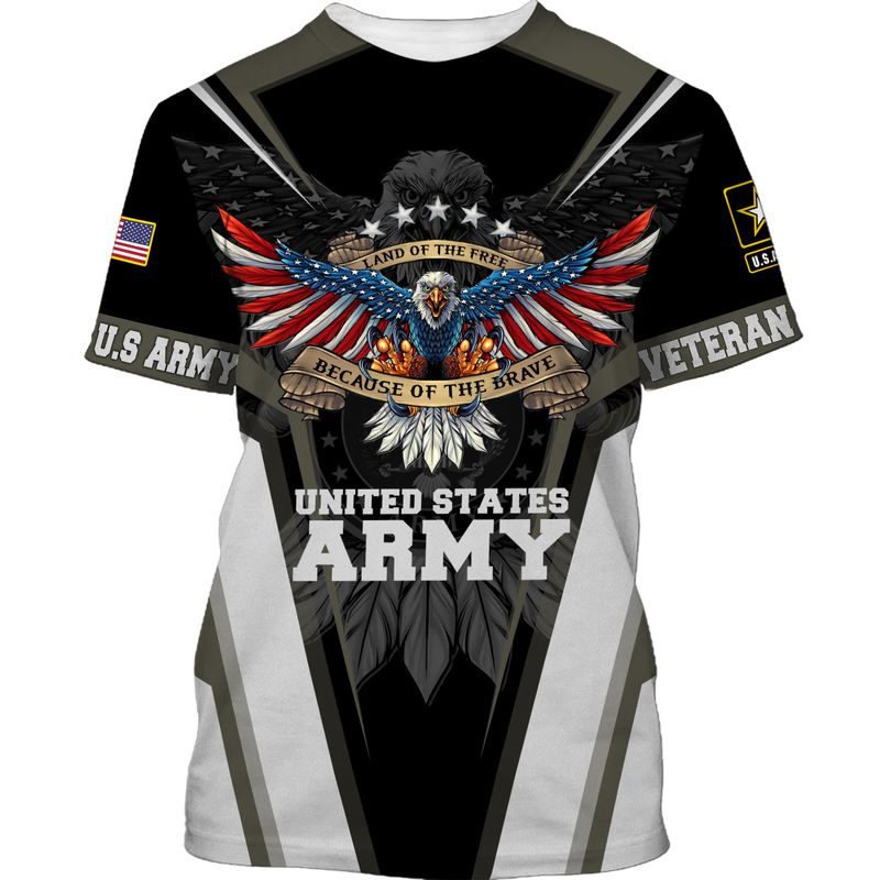 Land of the Free US ARMY Because of the Brave SHIRT 3D