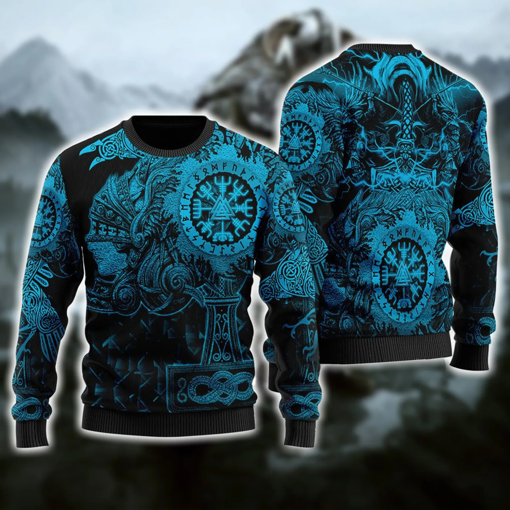 Viking Native Ugly Christmas Blue Pattern Sweater