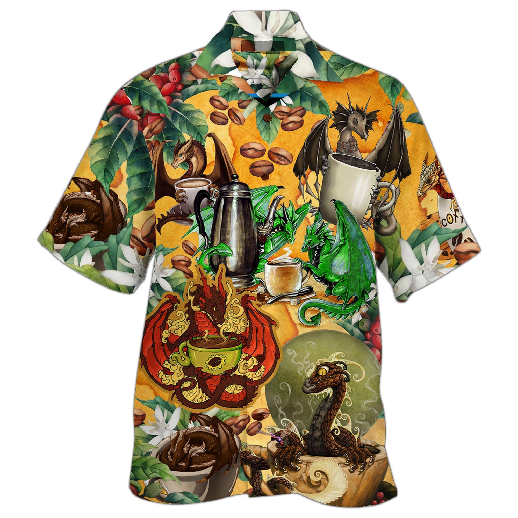 Dragon With Coffee Cup Hawaiian Shirt