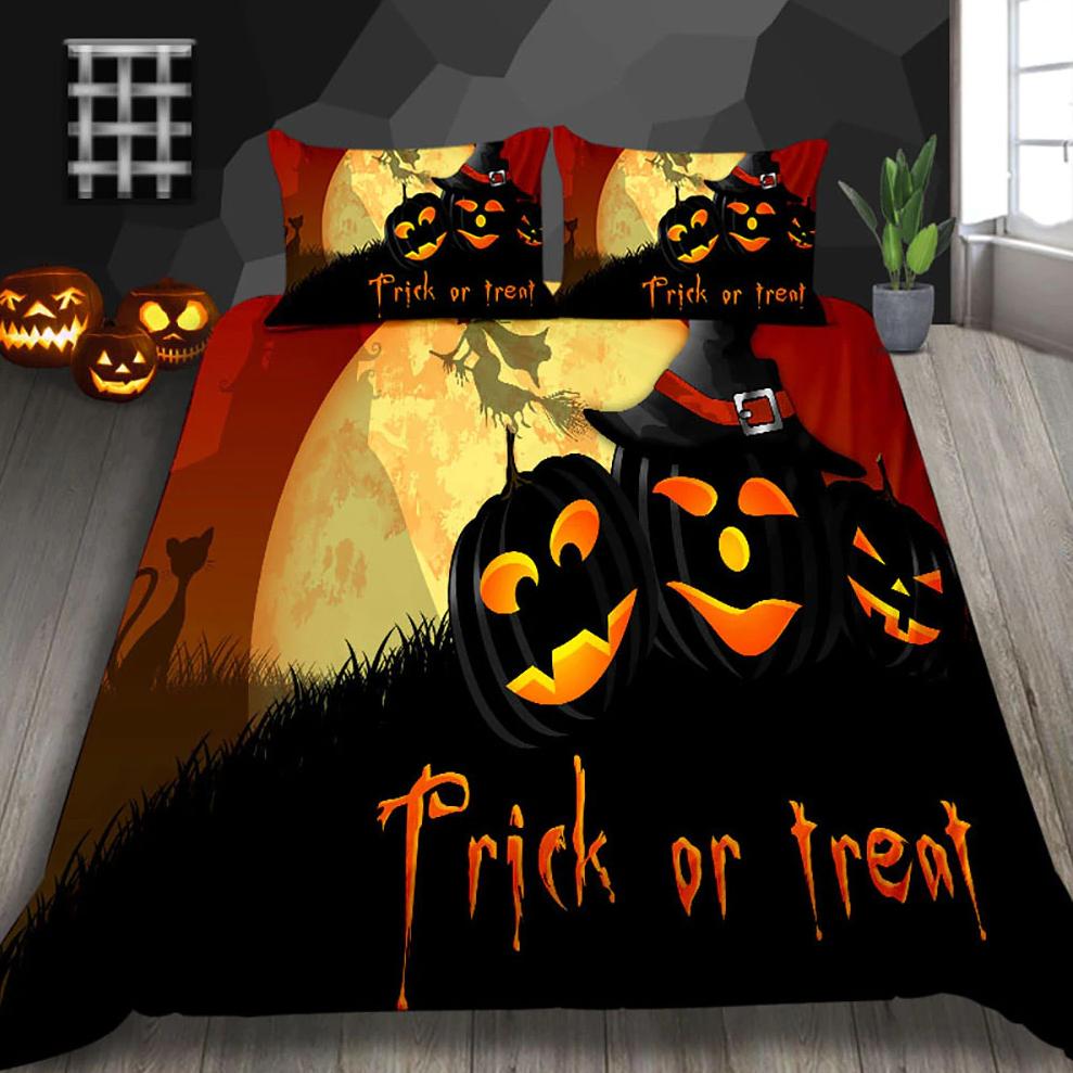 Trick Or Treat pumpkin witch Halloween Bedding Set
