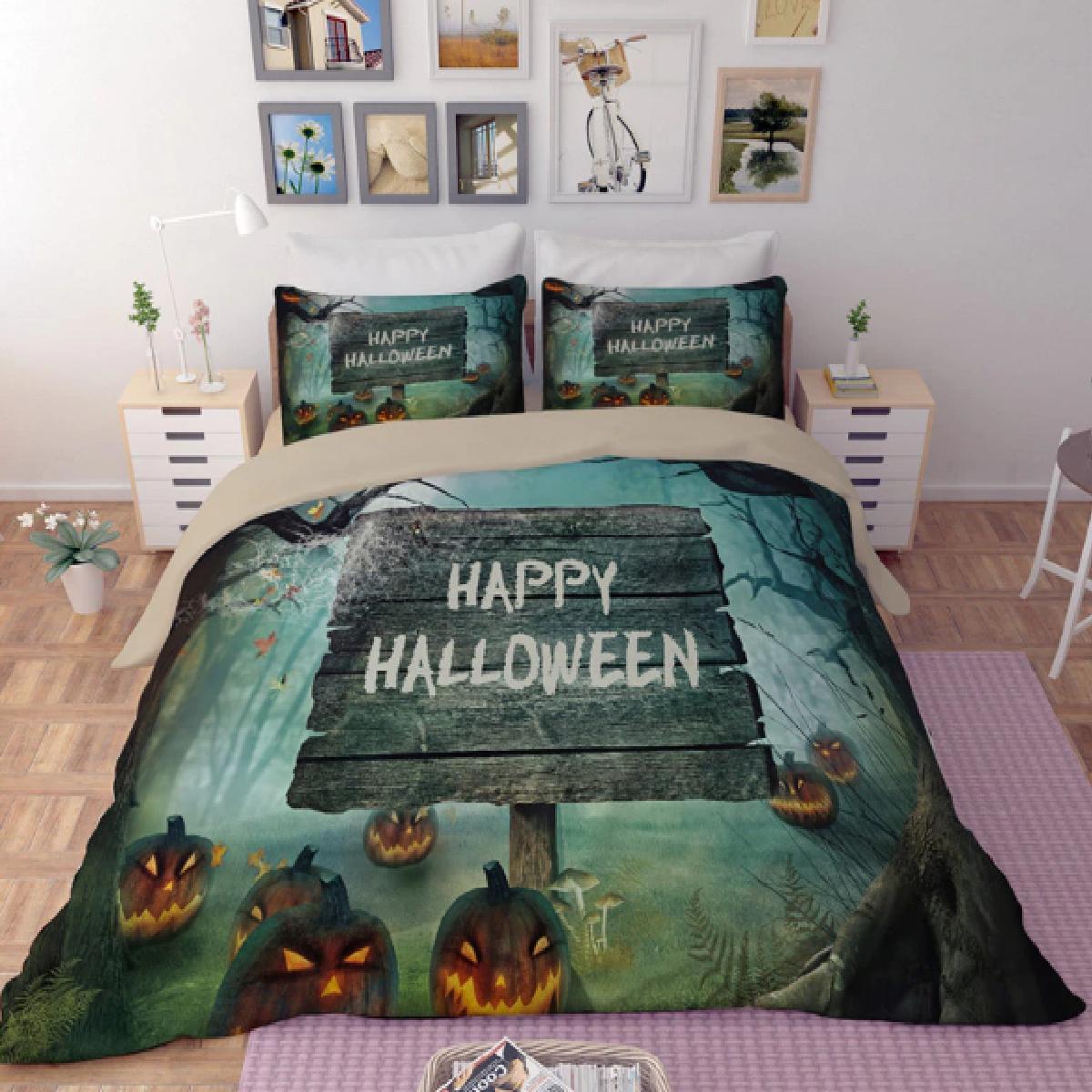 Happy Halloween pumpkin Land Duvet Bedding Set