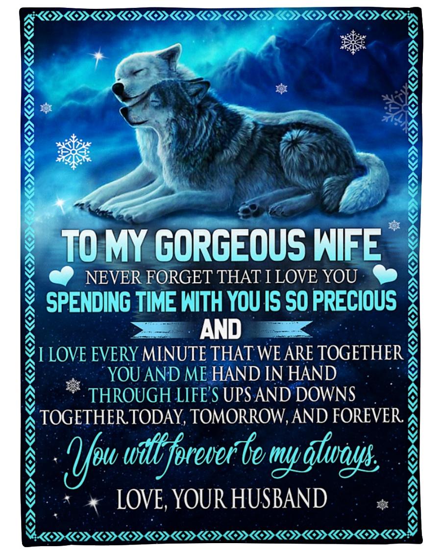 Wolf Couple To my gorgeous wife Husband Lovers Fleece Blanket