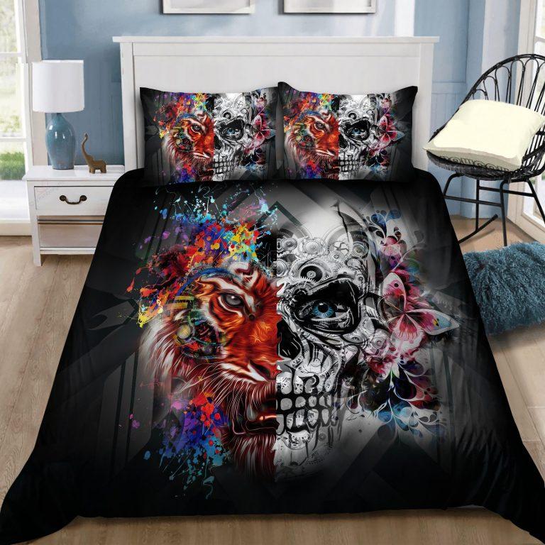 Tiger And Skull Art Bedding Set