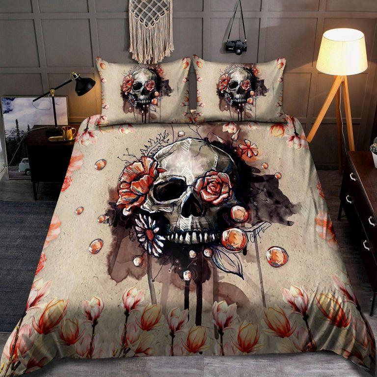 Skull And Flowers Art Bedding Set