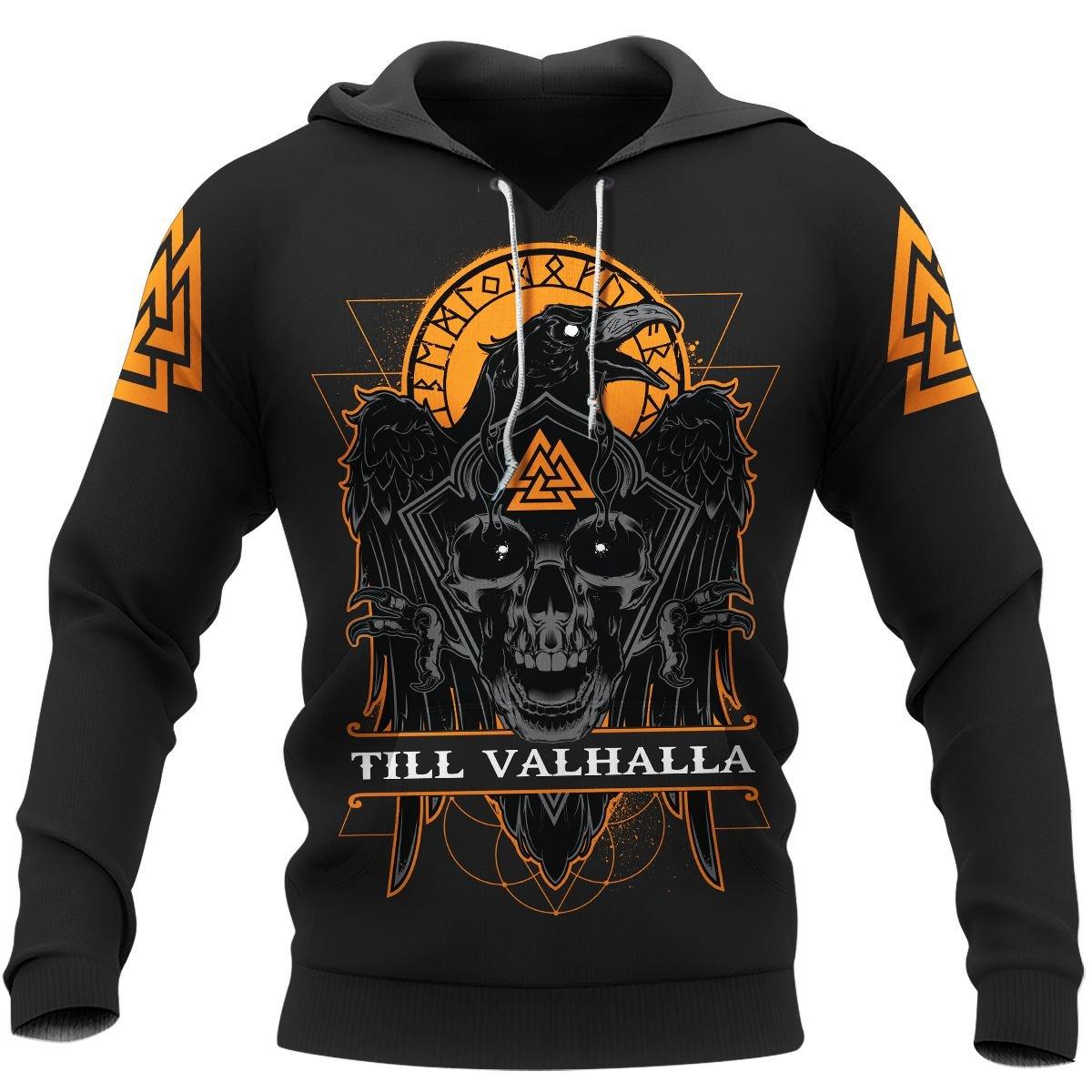 TILL VALHALLA RAVEN VIKING BLACK HOODIE