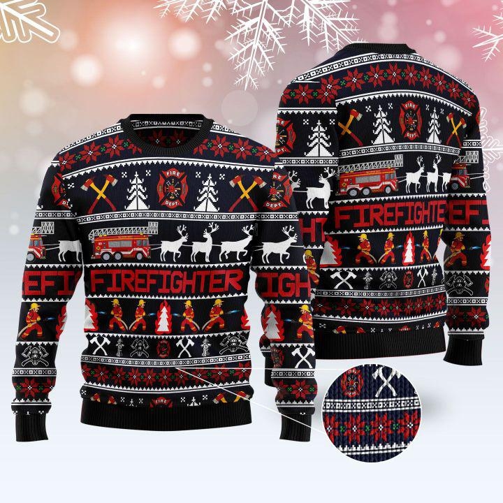 FIREFIGHTER Reindeer UGLY CHRISTMAS SWEATER