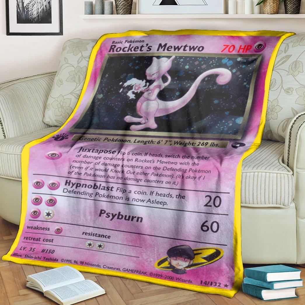 Anime Pokemon Rocket's Mewtwo Psyburn Fleece Blanket