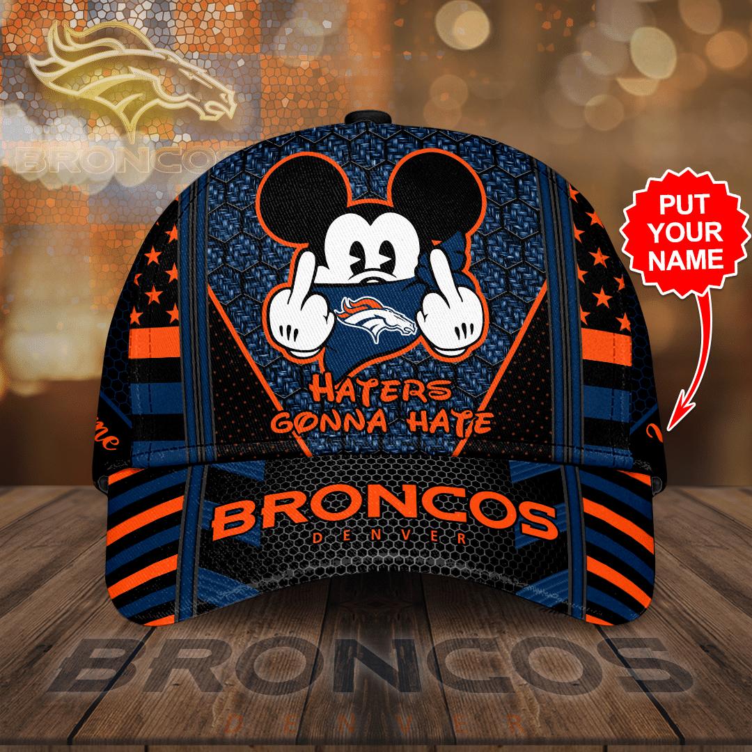 Custom Name Denver Broncos Hate Gonna Hate Mickey 3D Cap