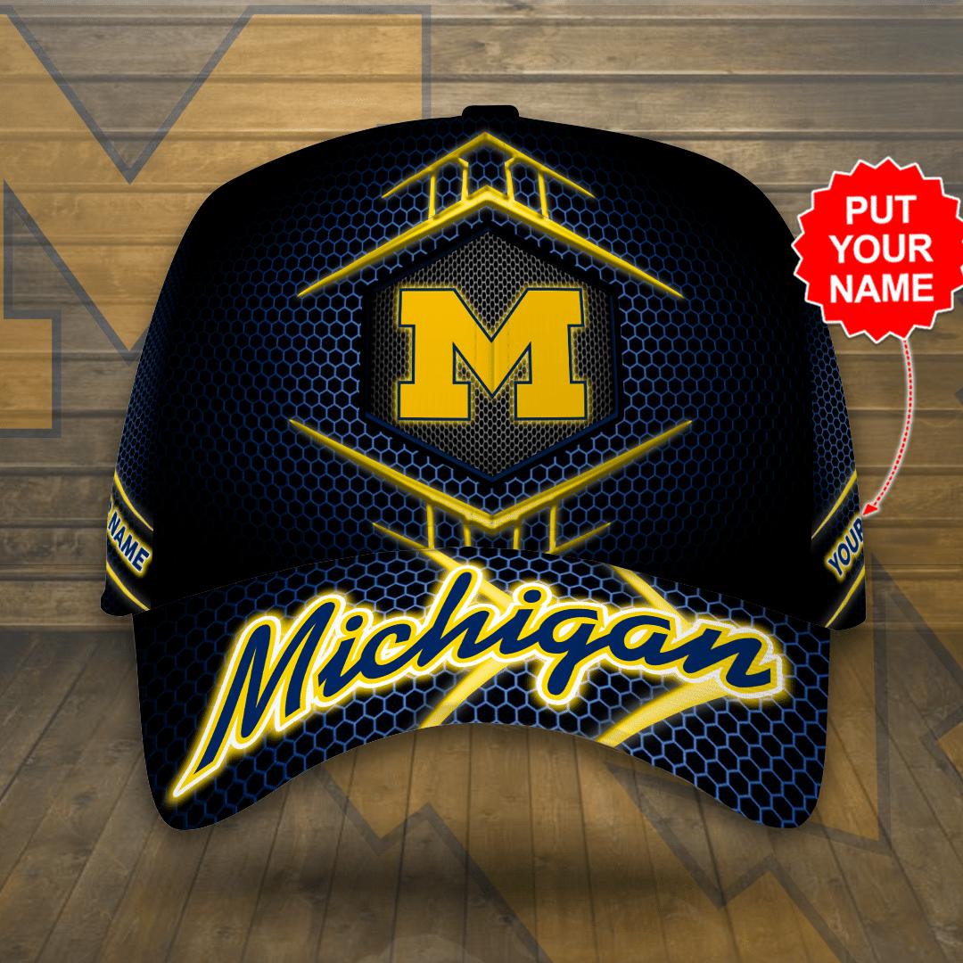 Custom Name Michigan Wolverines Printed Hat