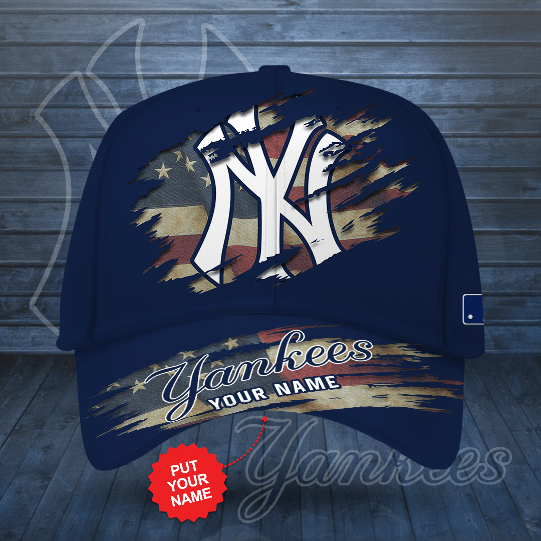 Personalized New York Yankees America Flag Printed Cap