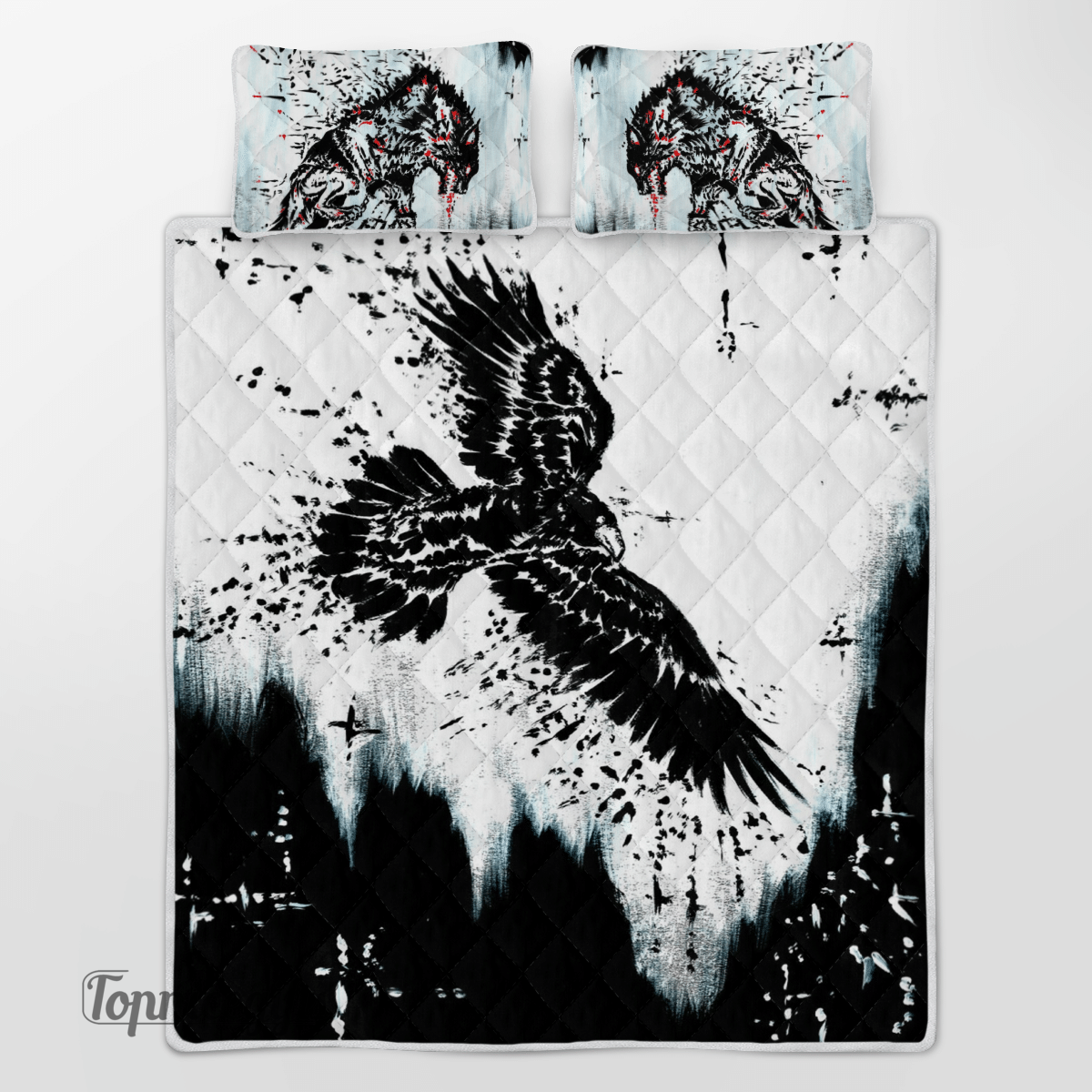 Viking Eagle Crow Wolf Blood Quilt Bedding Set