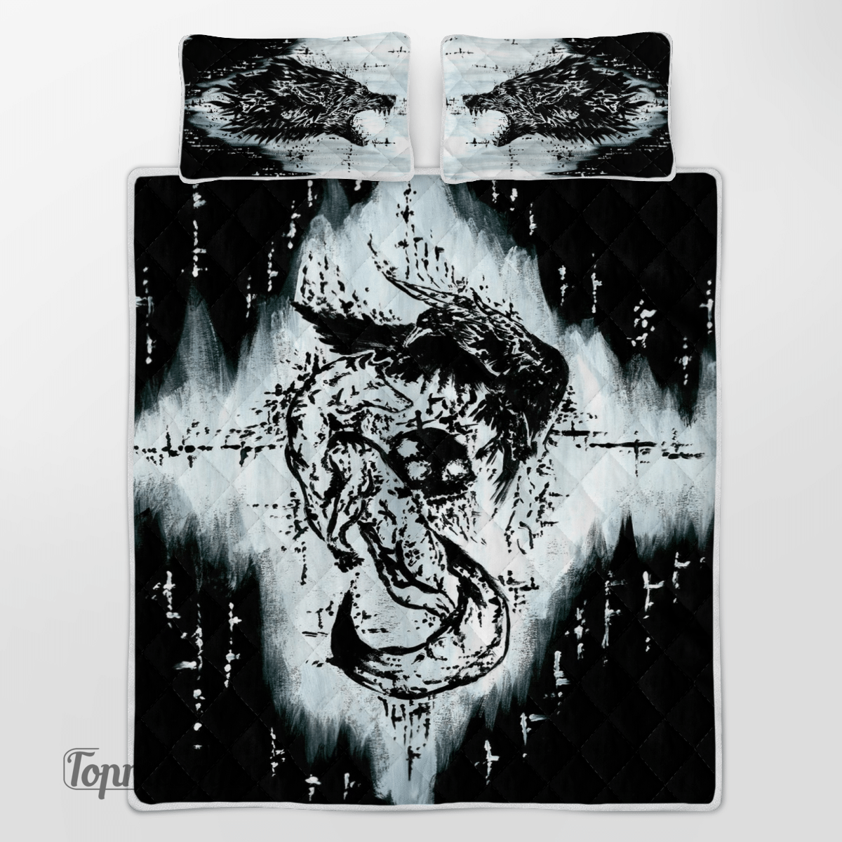 Viking Raven Wolf Art Black and White Quilt Bedding Set