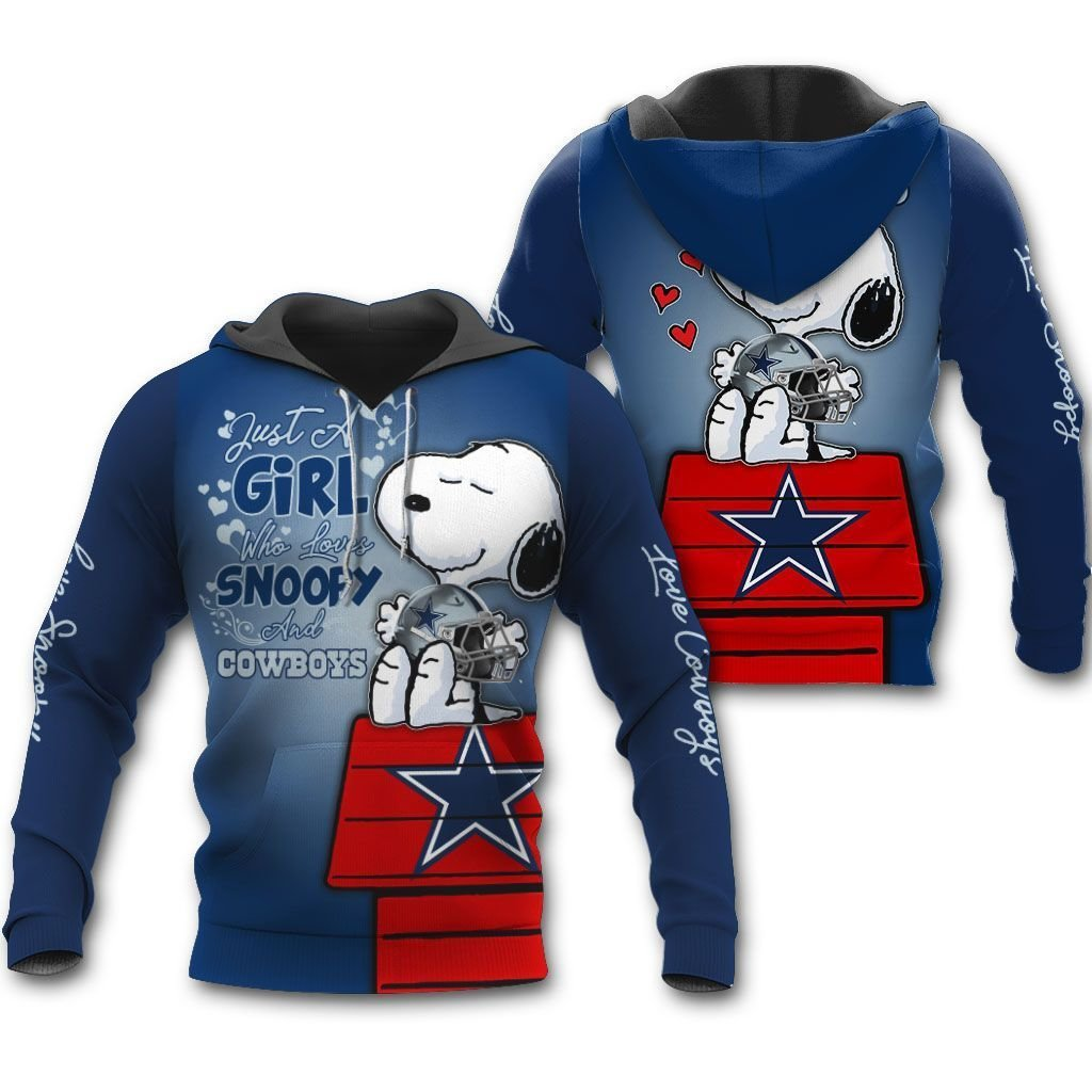 Just a girl who love Snoopy and Cowboys 3D Hoodie