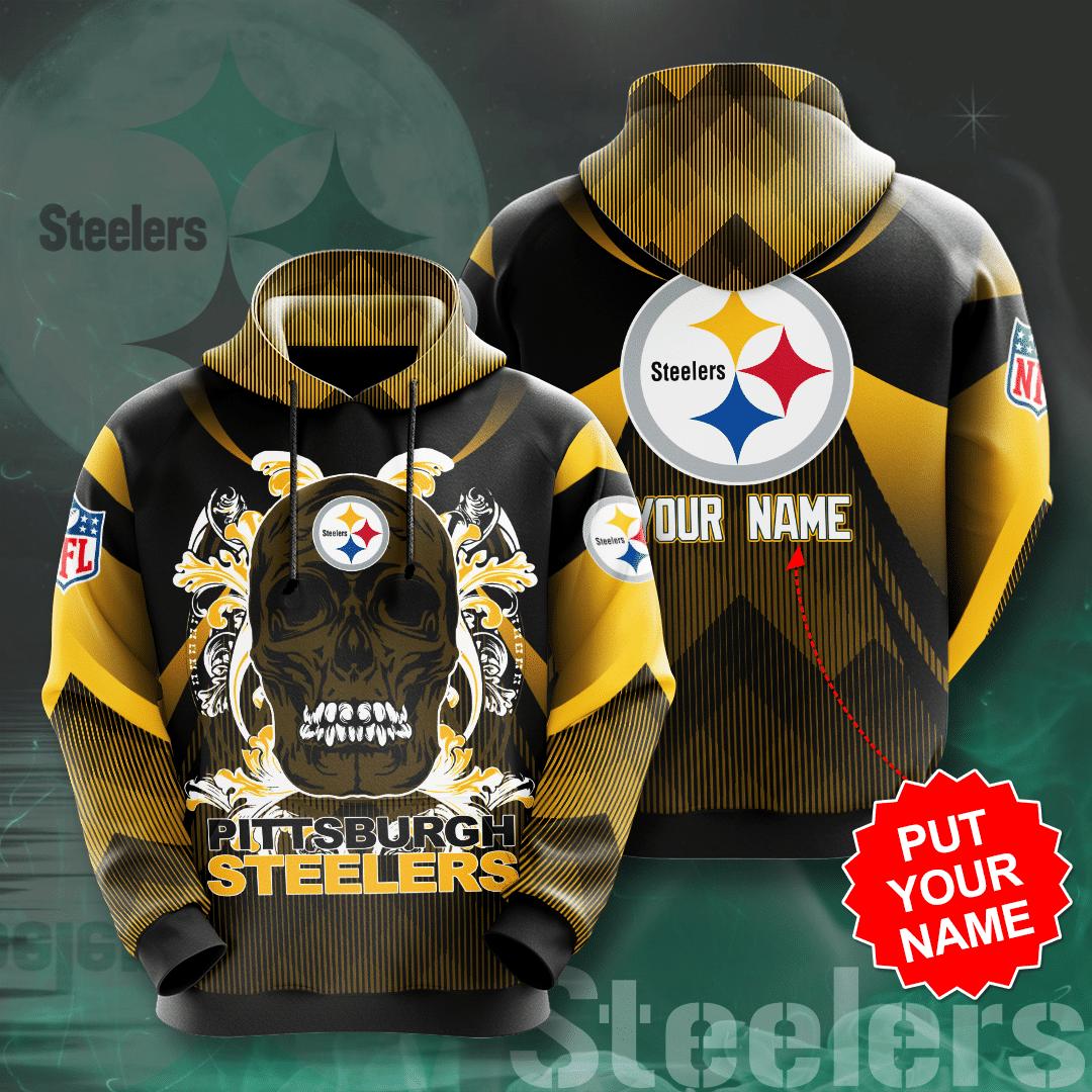 Custom Name NFL Pittsburgh Steelers skull Full Printed Hoodie