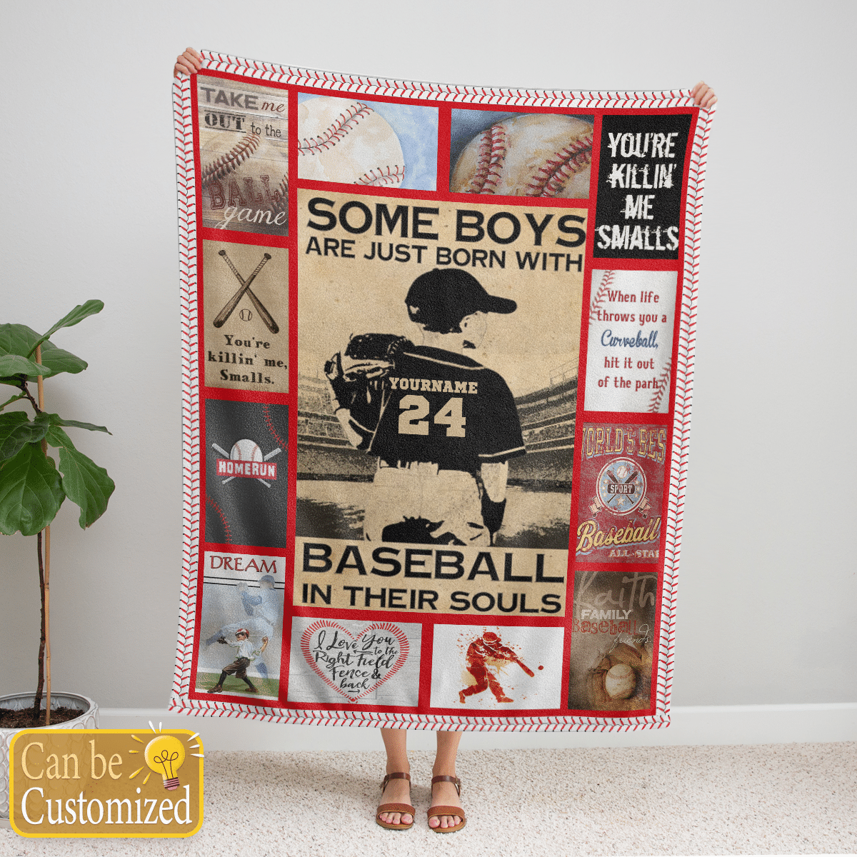 Some boys are just born with baseball in their souls Fleece blanket
