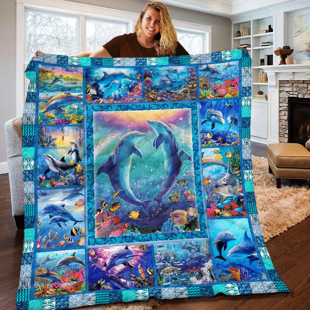 Dolphin and Ocean Fish Special Quilt Blanket