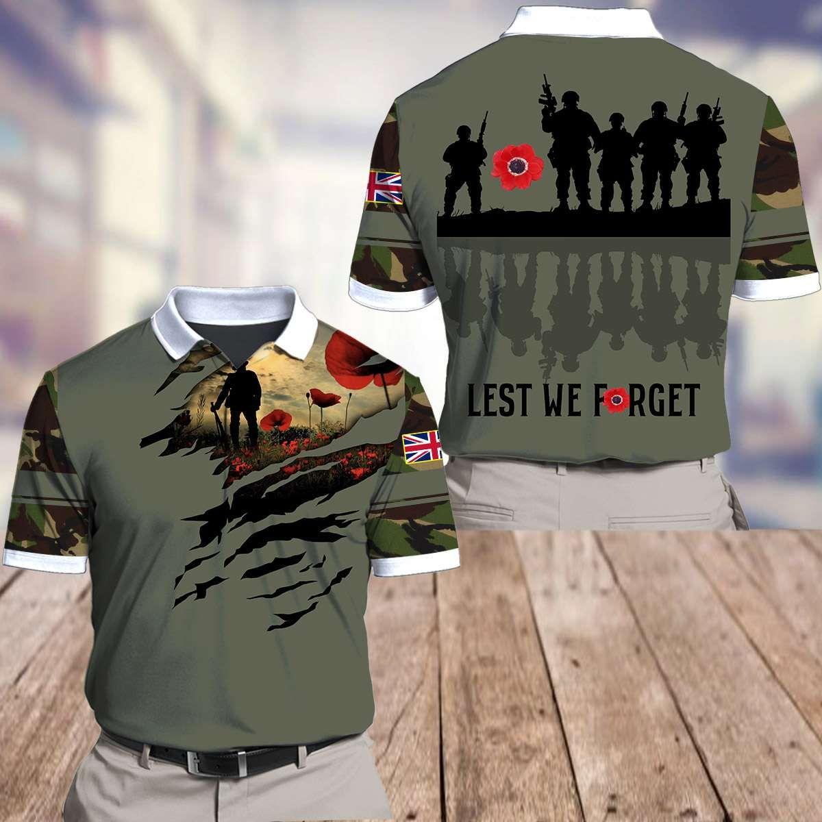 UK Lest We Forget Poppy grey Shirt