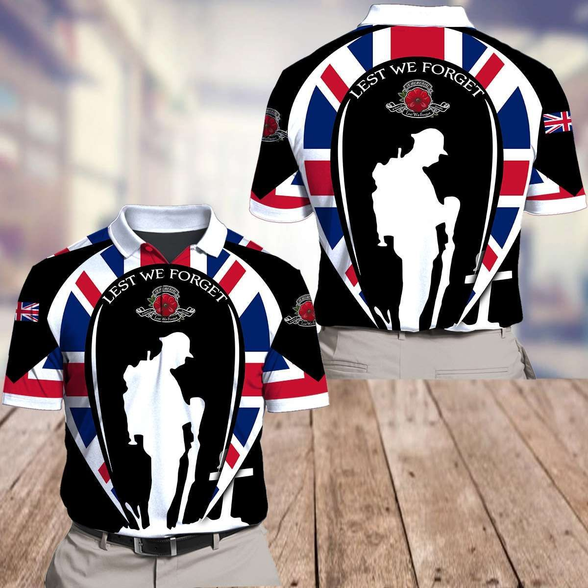 UK Remembrance Day soldier stand 3D T-shirt and Polo