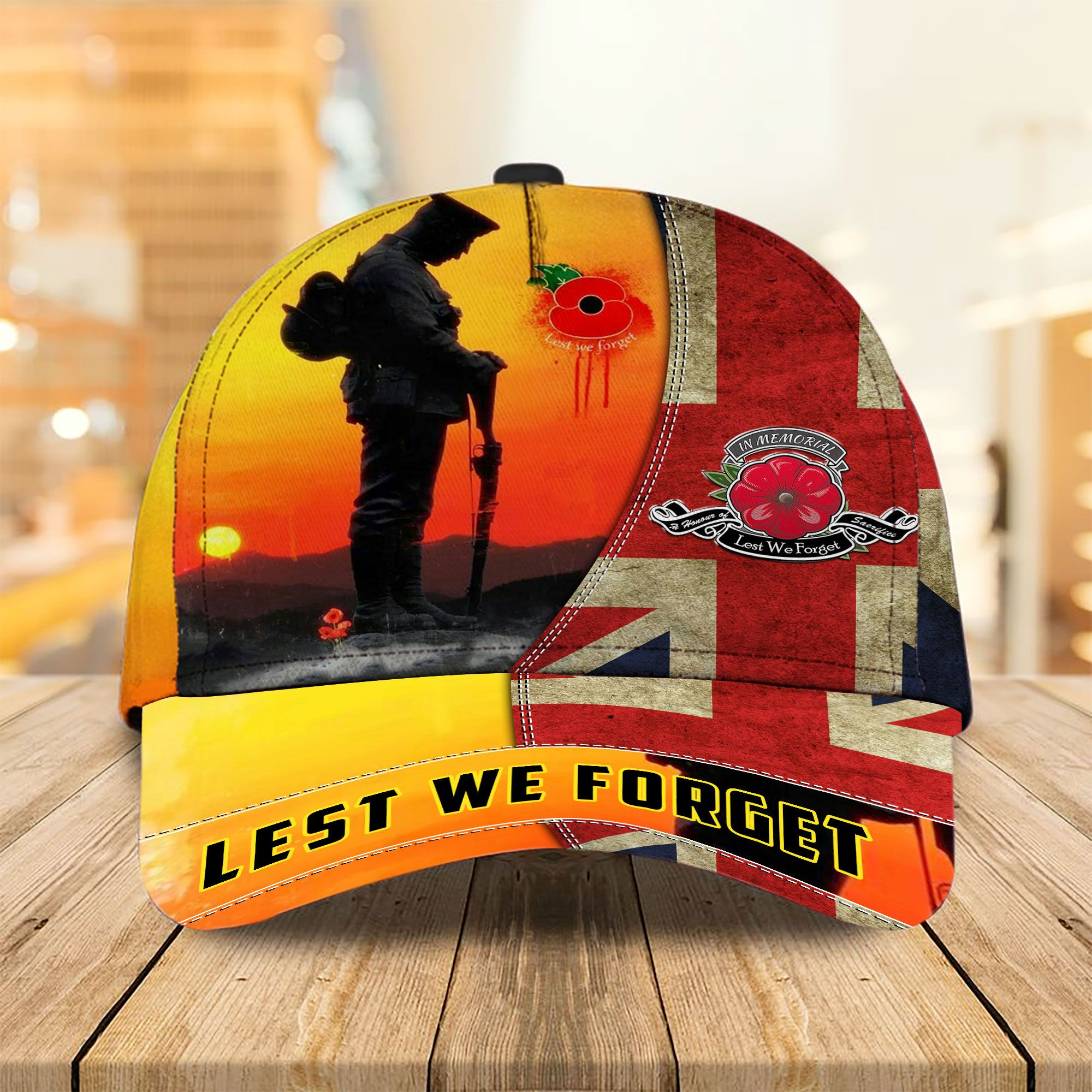 UK Lest We Forget Soldier and Flag 3D Cap