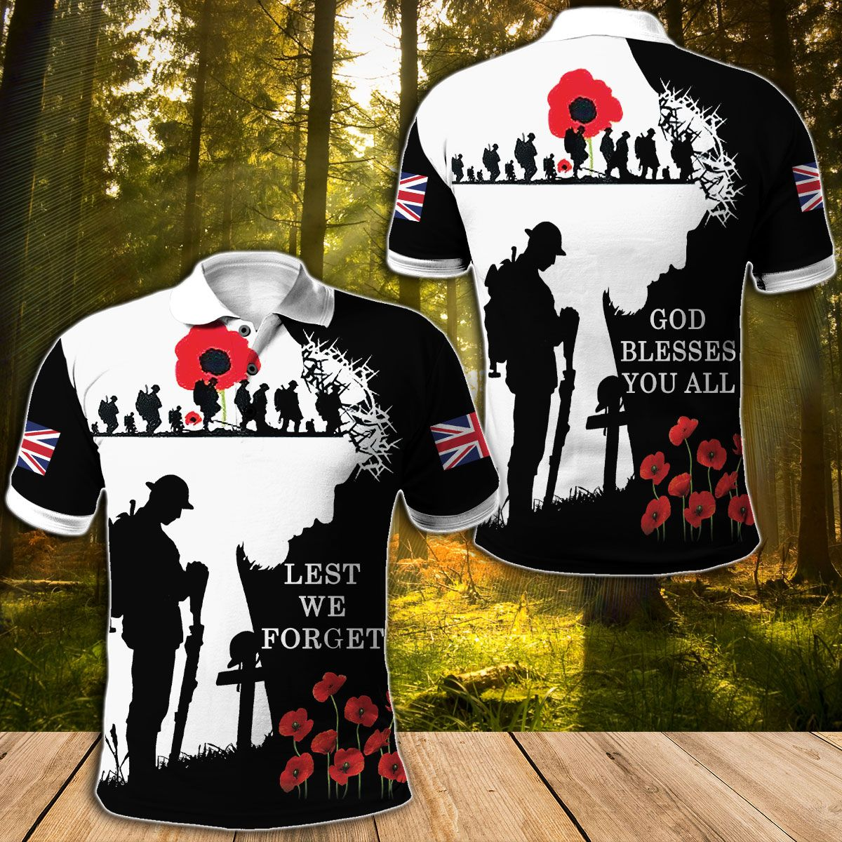 UK soldier God Bless You all Full Printed Hoodie Polo