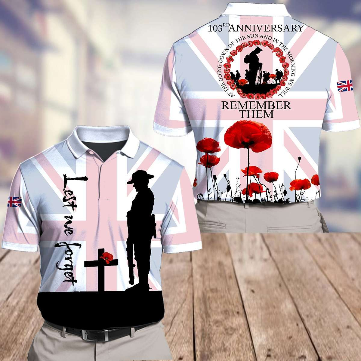 UK Remembrance Day 103rd anniversary flag Polo and T-shirt