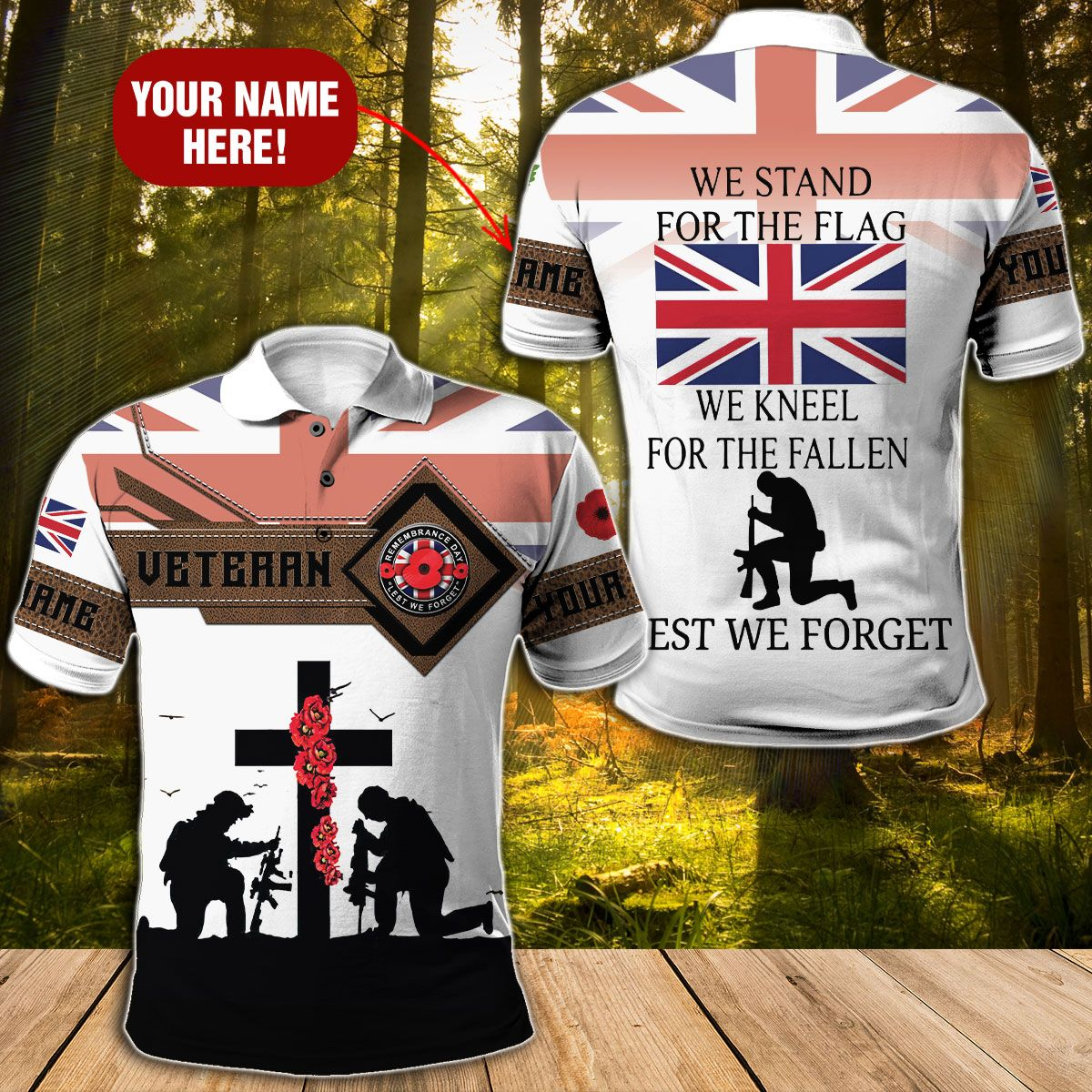 UK We stand for the flag we kneel for the fallen 3D Hoodie Polo shirt