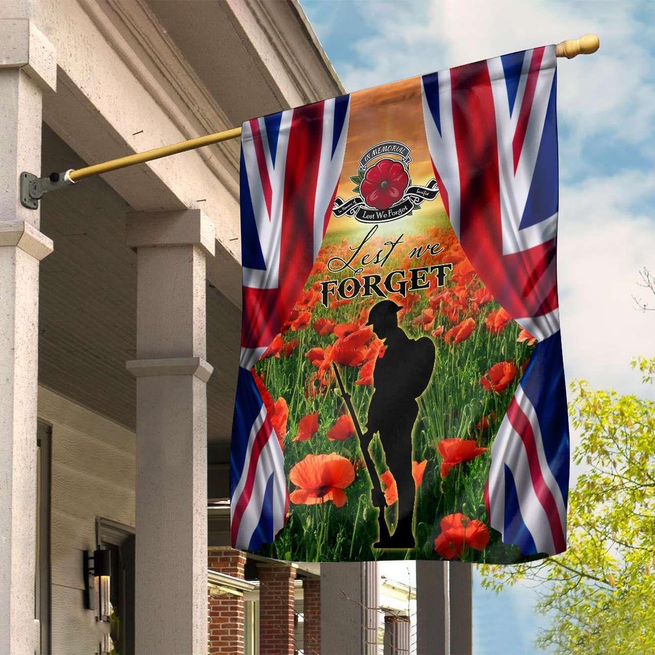 UK Lest We Forget Poppy field Full Printed Flag