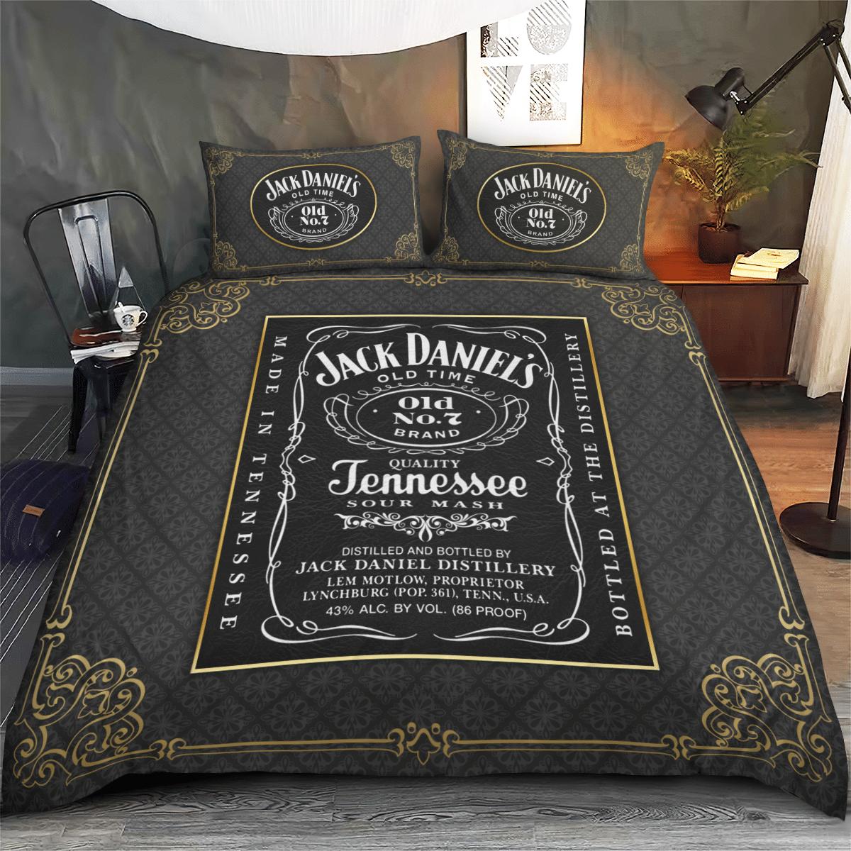 Jack Daniel Jennessee Vintage Grey Bedding Set