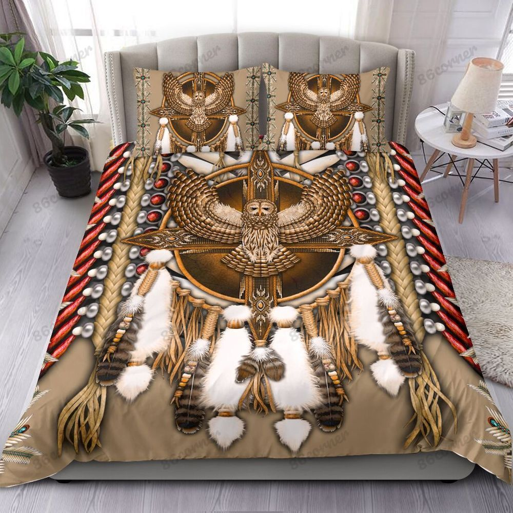 Great Horned Owl Native American Bedding Set